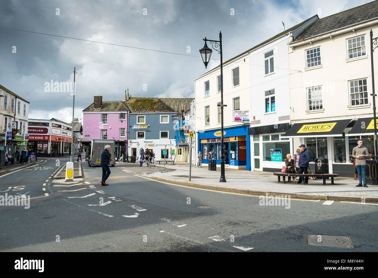 Shops and stores in Victoria Square in Truro City centre Cornwall. - Stock Image