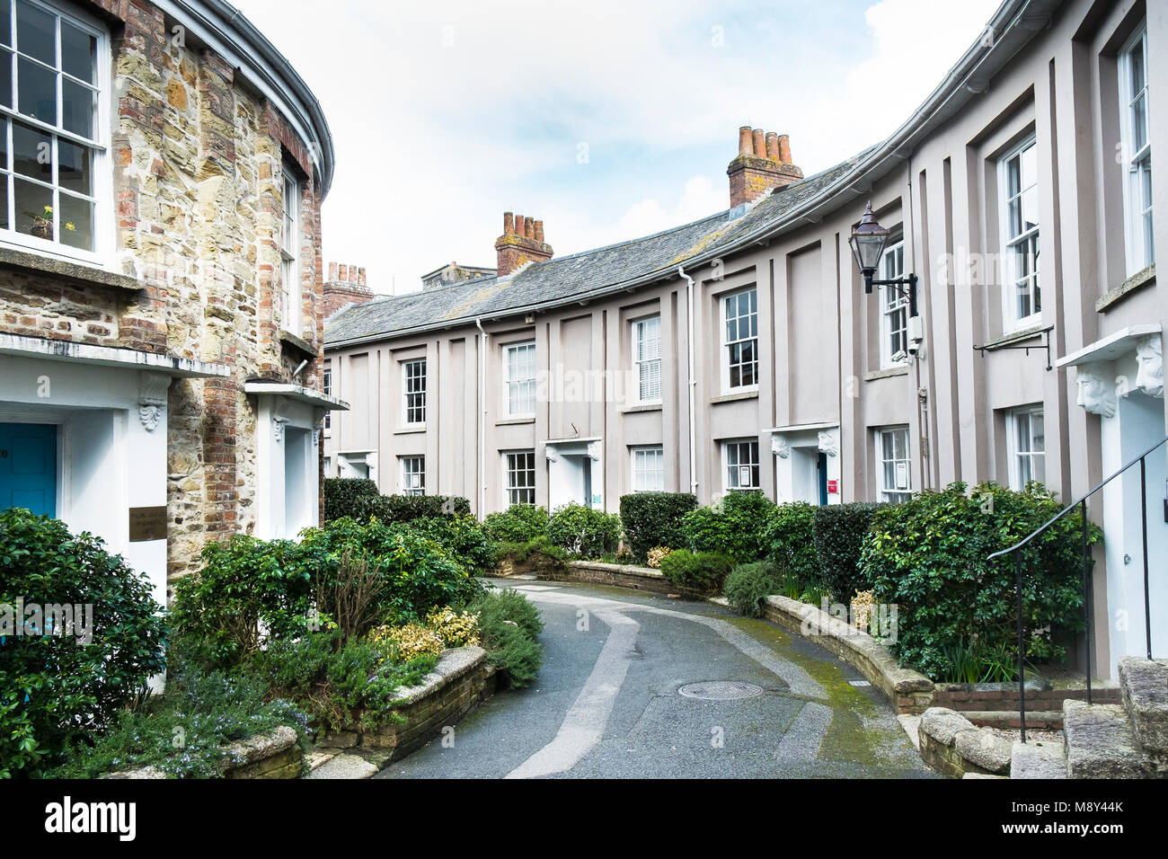 The historic Walsingham Place in Truro City centre Cornwall. - Stock Image