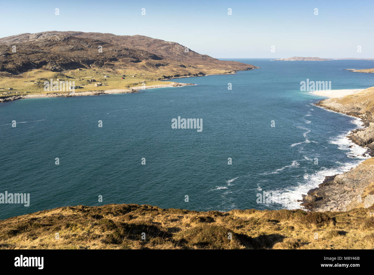 Hushinish coastline and the Isle of Scarp from the Isle of Harris in the Outer Hebrides. - Stock Image
