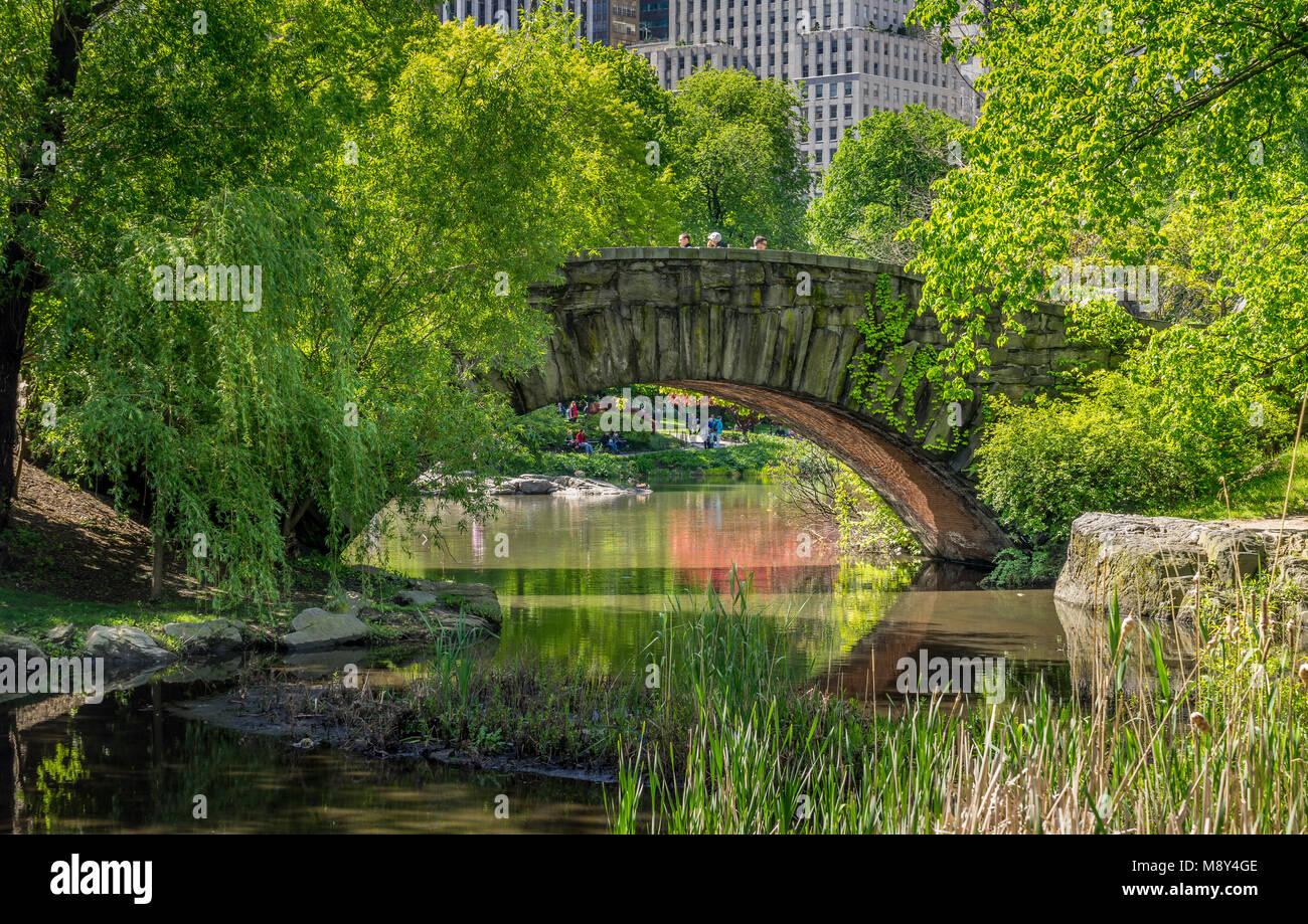 New York, NY USA - MAY 14, 2017. A stone bridge Gapstow Bridge in Central Park NY. - Stock Image
