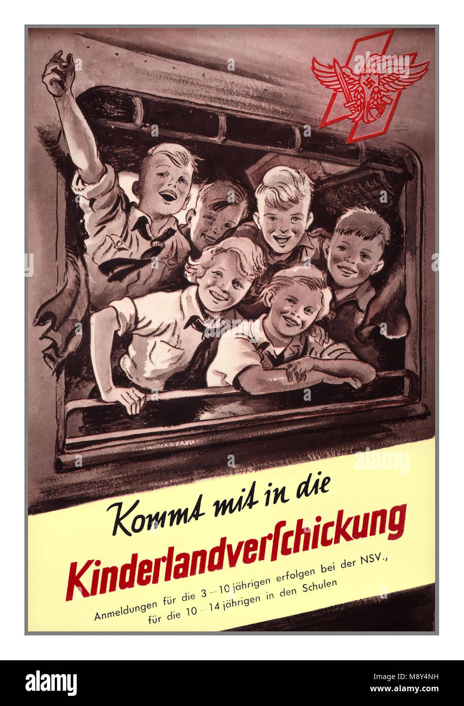 Vintage WW2 Nazi Germany ' Kinderlandverschickung' Propaganda Poster from 1942-1943. Allied bombing of German cities - Stock Image