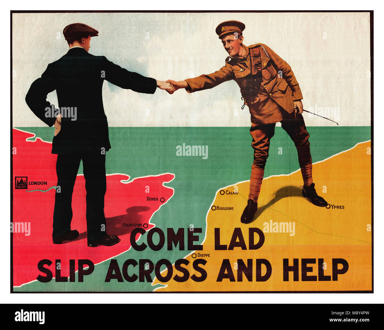 WWI propaganda recruitment graphic artwork poster for British Army serving in France  'Come lad slip across - Stock Image