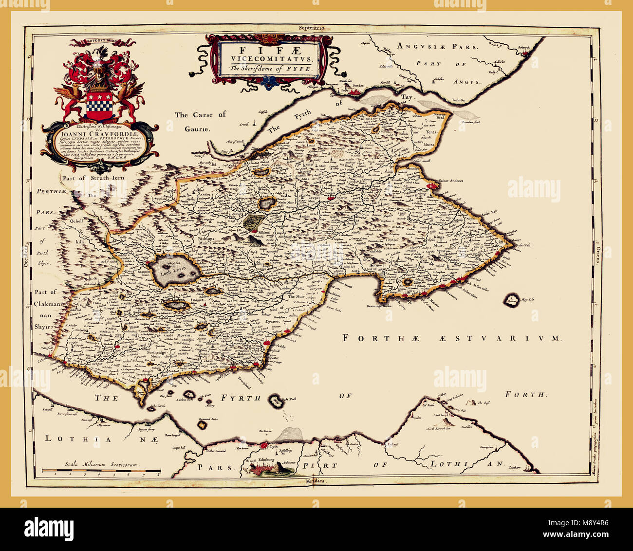 Fife Old County Map Johan Blaeu 1654