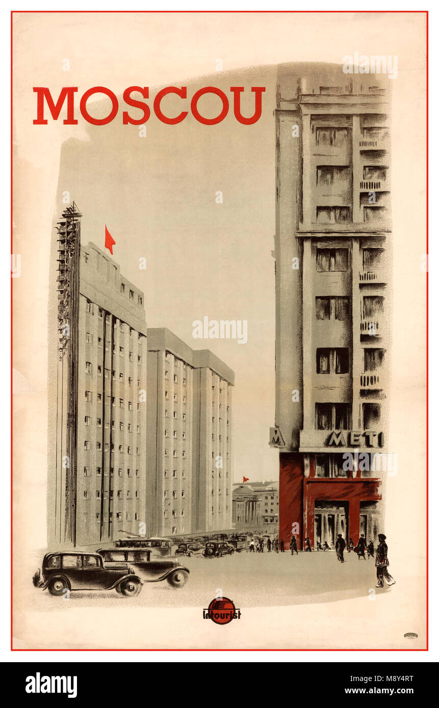 1936 Vintage Central Moscow Russia travel poster by Intourist tourist agency in USSR - Stock Image