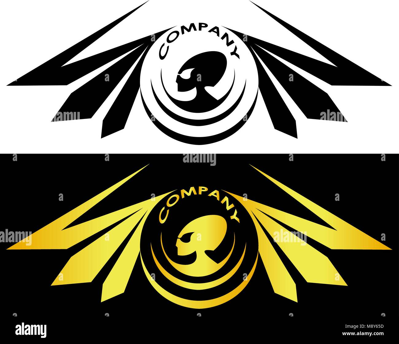 Aliens Surrounded By Wings And Inscription Alien Logo Stock