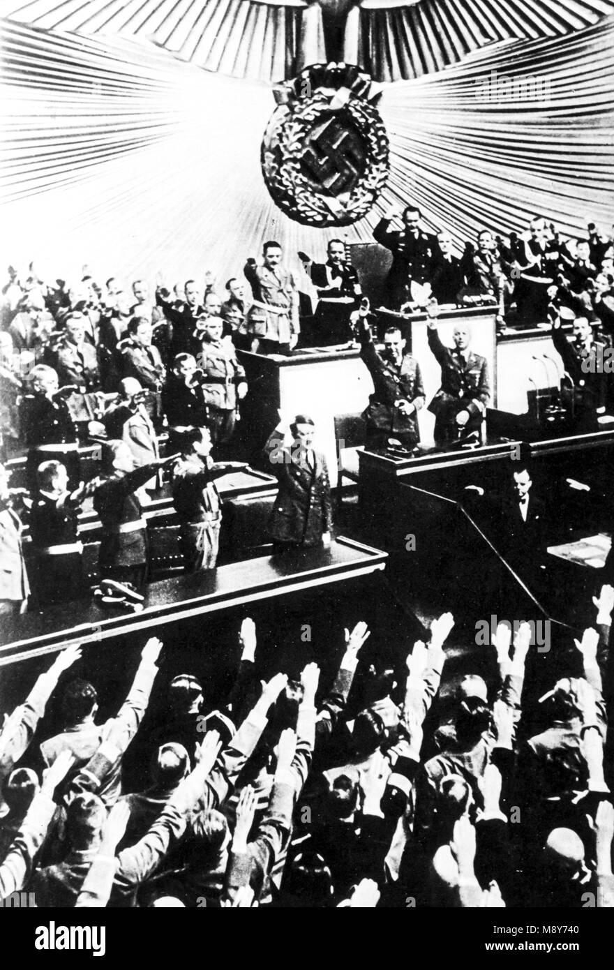 adolf hitler at the reichstag announces the invasion of poland, berlin, 1939 - Stock Image