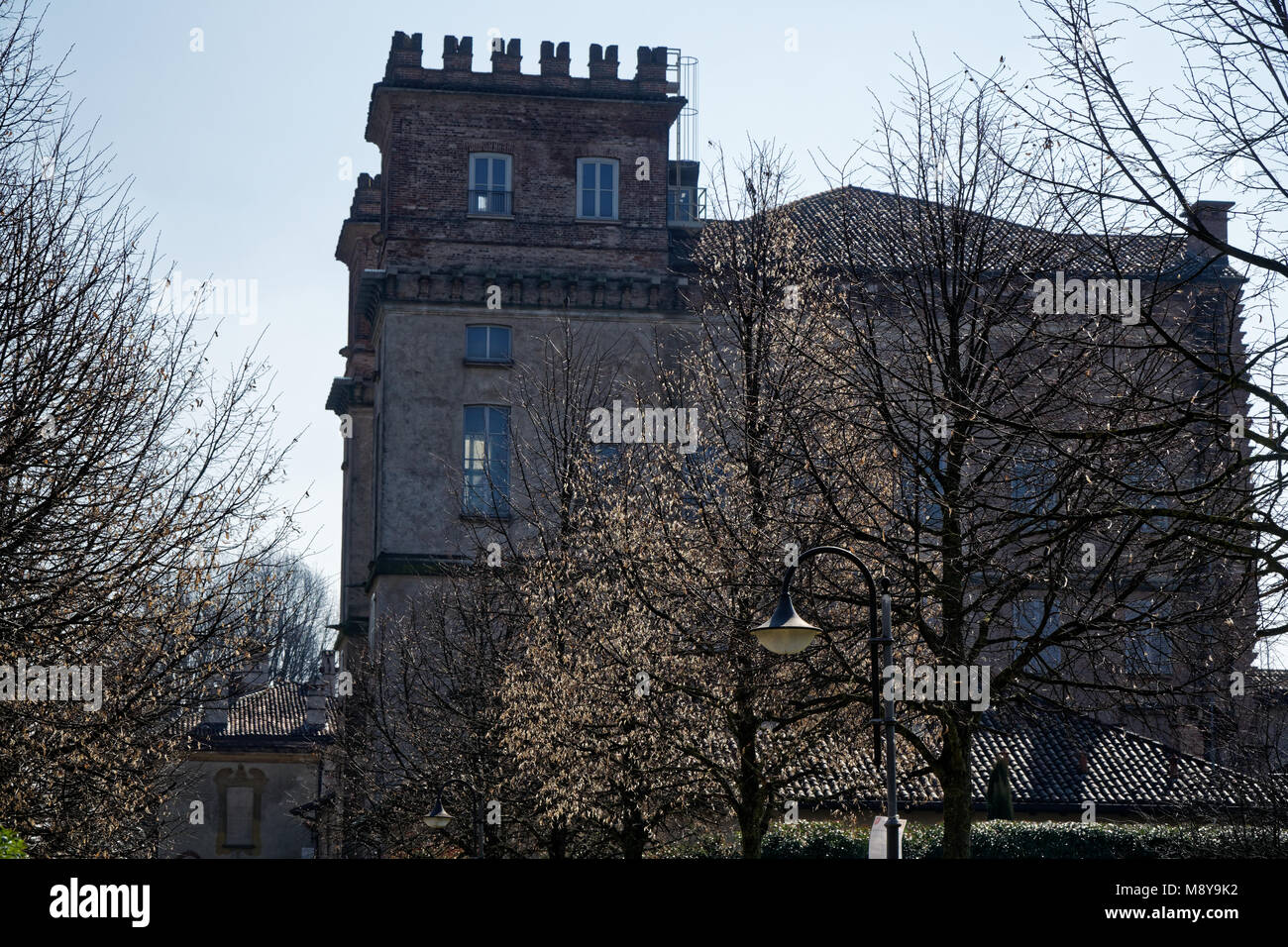 Library, Robecco sul Naviglio, Milan province, Italy, 13 March 2018: Old library in Italy, like castle. - Stock Image