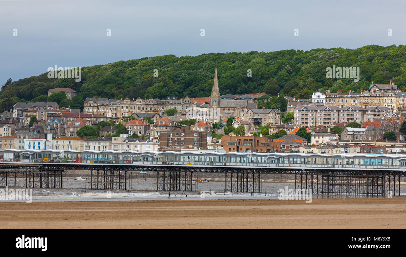 Sea-side town of Weston-Super-Mare, Somerset, England, against the Bristol Channel - Stock Image