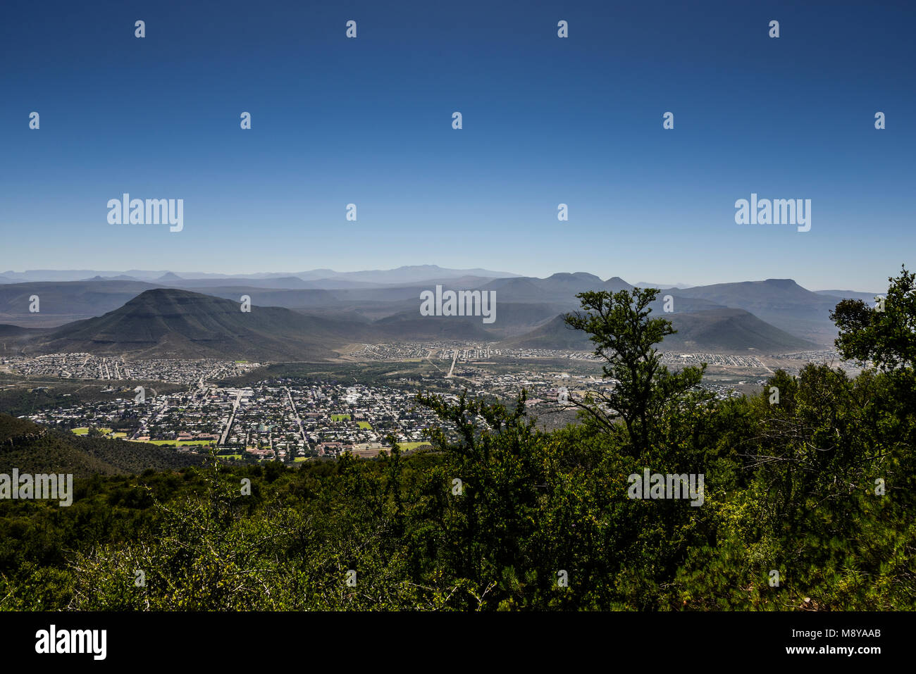 A View of Graaff-Reinet, South Africa from the road leading up to the Valley of Desolation - Stock Image