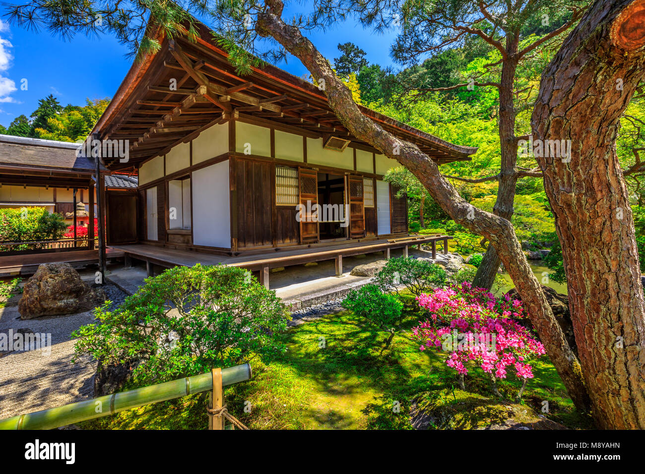 Kannon-Hall at popular landmark Ginkaku-ji Temple or Silver Pavilion in spring season with blue sky. Ginkakuji officially - Stock Image