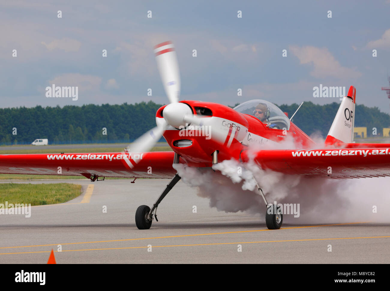 The Zlin Z-50LS of the Zelazny Aerobatic Team on runway during International Air Show at the 90th Jubilee of The - Stock Image