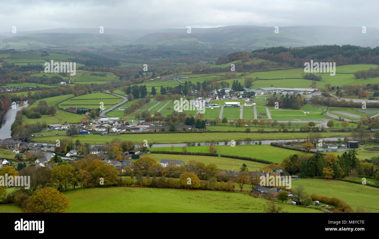 Royal Welsh Showground, Llanelwedd from Garth Trig Point - Stock Image