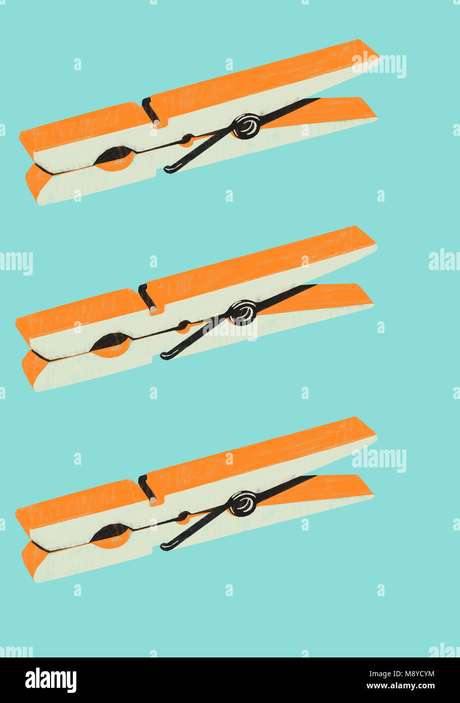 Graphic resource shows orange daily object , clothespin, on blue background. Minimalist illustration - Stock Image
