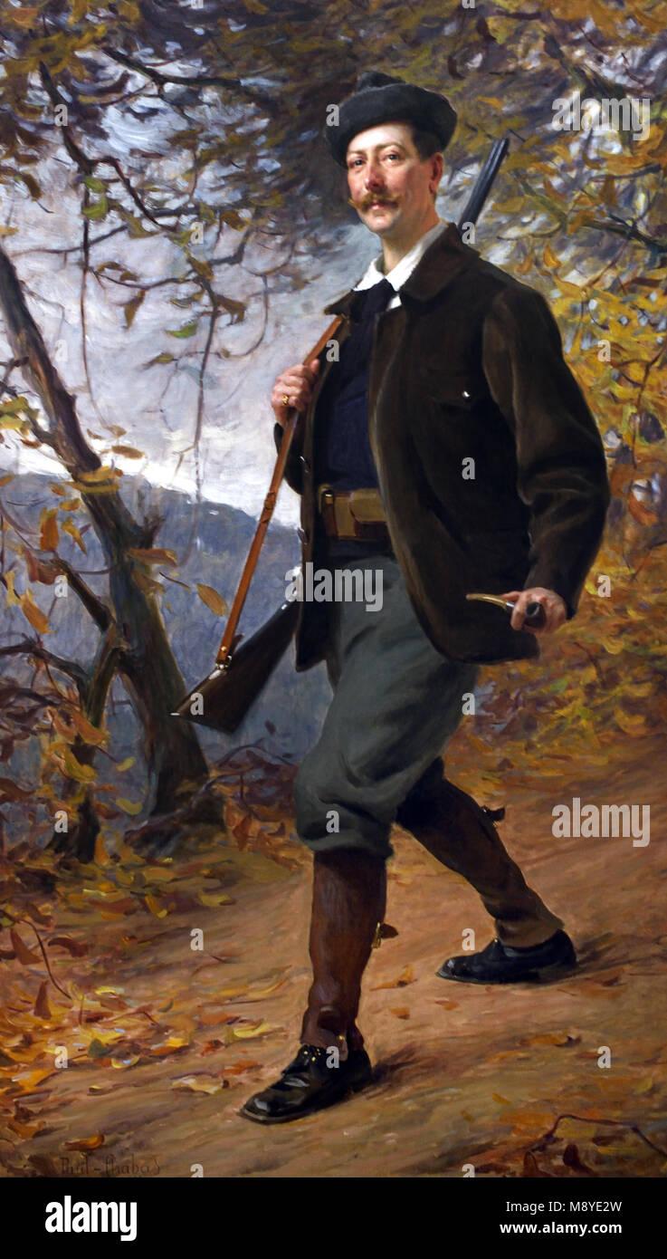 Portrait du commandant de cavalerie Pavilion - Portrait of the Cavalry Commander Pavilion 1900 Paul Emile CHABAS,1869 - Stock Image