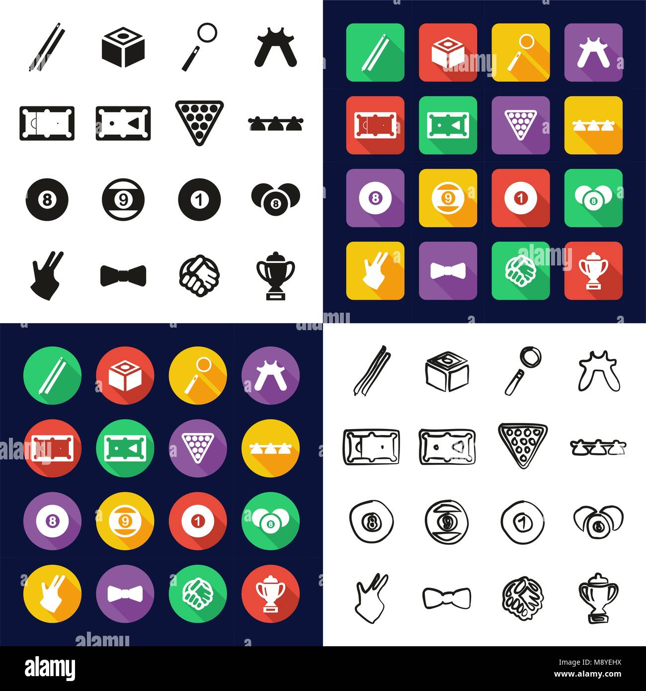 Billiards All in One Icons Black & White Color Flat Design Freehand Set - Stock Vector