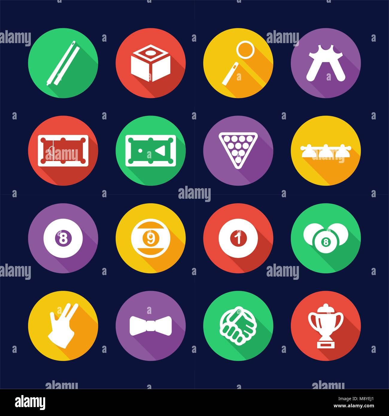 Billiards Icons Flat Design Circle - Stock Vector