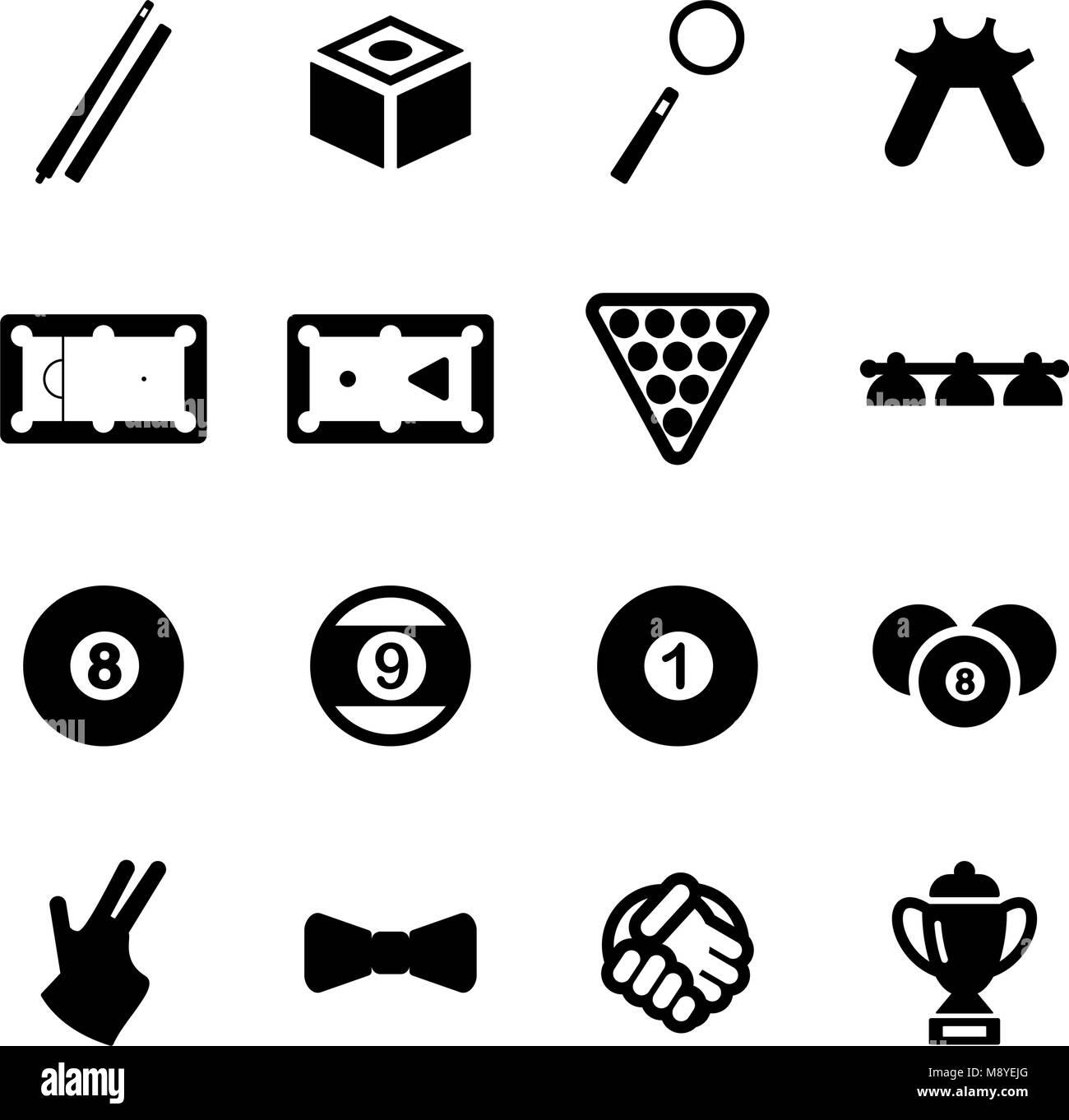 Billiards Icons - Stock Vector