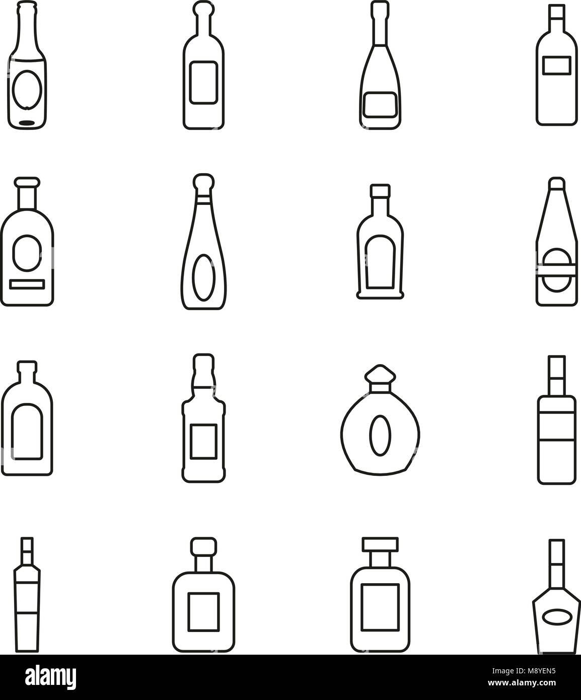Bottle or Glass Bottle or Liquor Bottle Icons Thin Line Vector Illustration Set Stock Vector