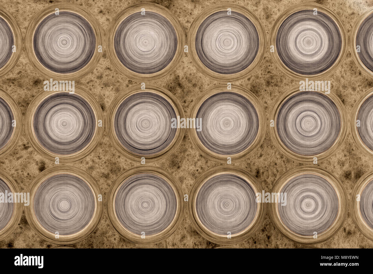 Parametric grid of generated wooden rings. Abstract background. 2d illustration. - Stock Image