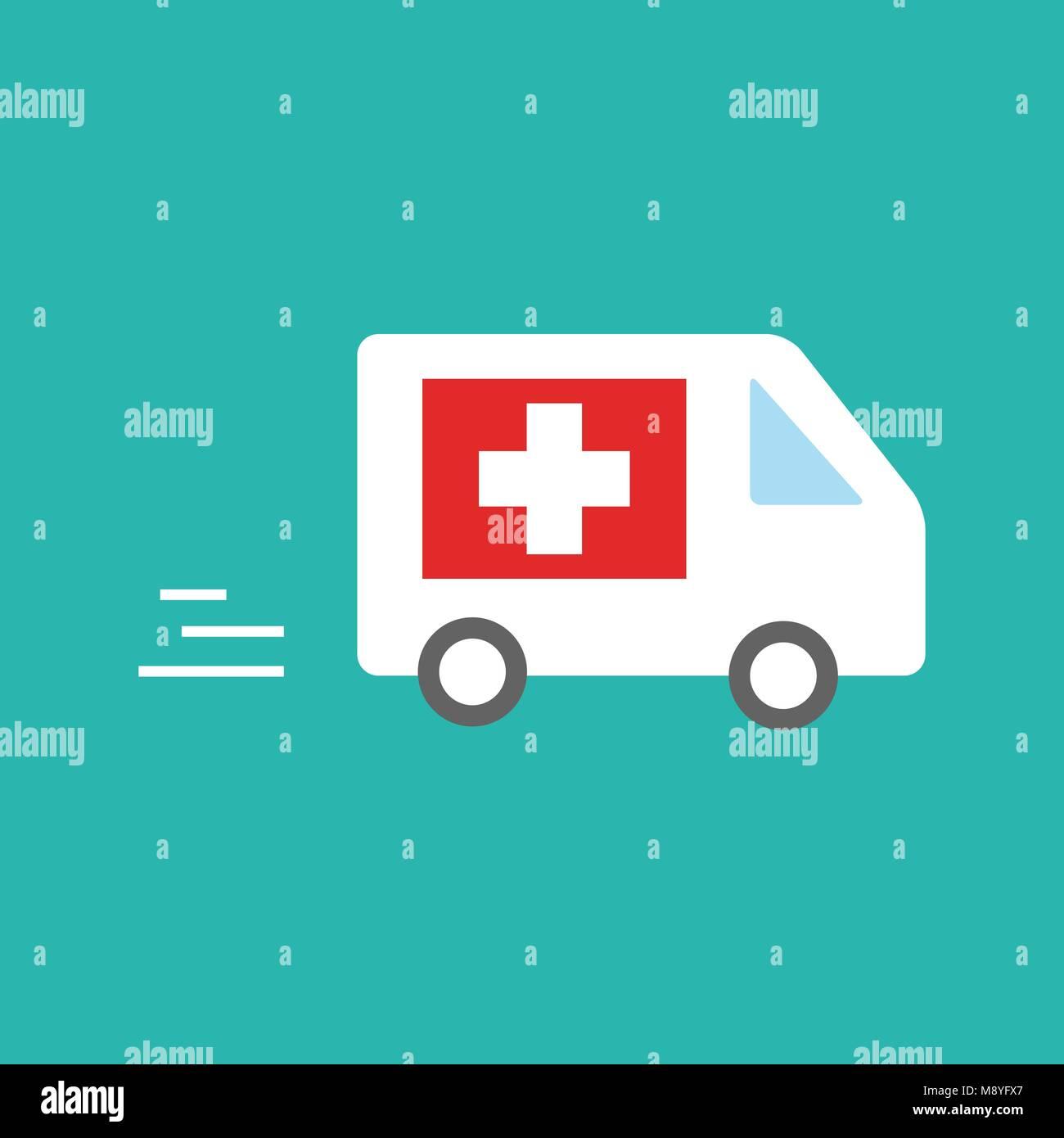 ambulance car - emergency sign - medical illustration - Stock Image
