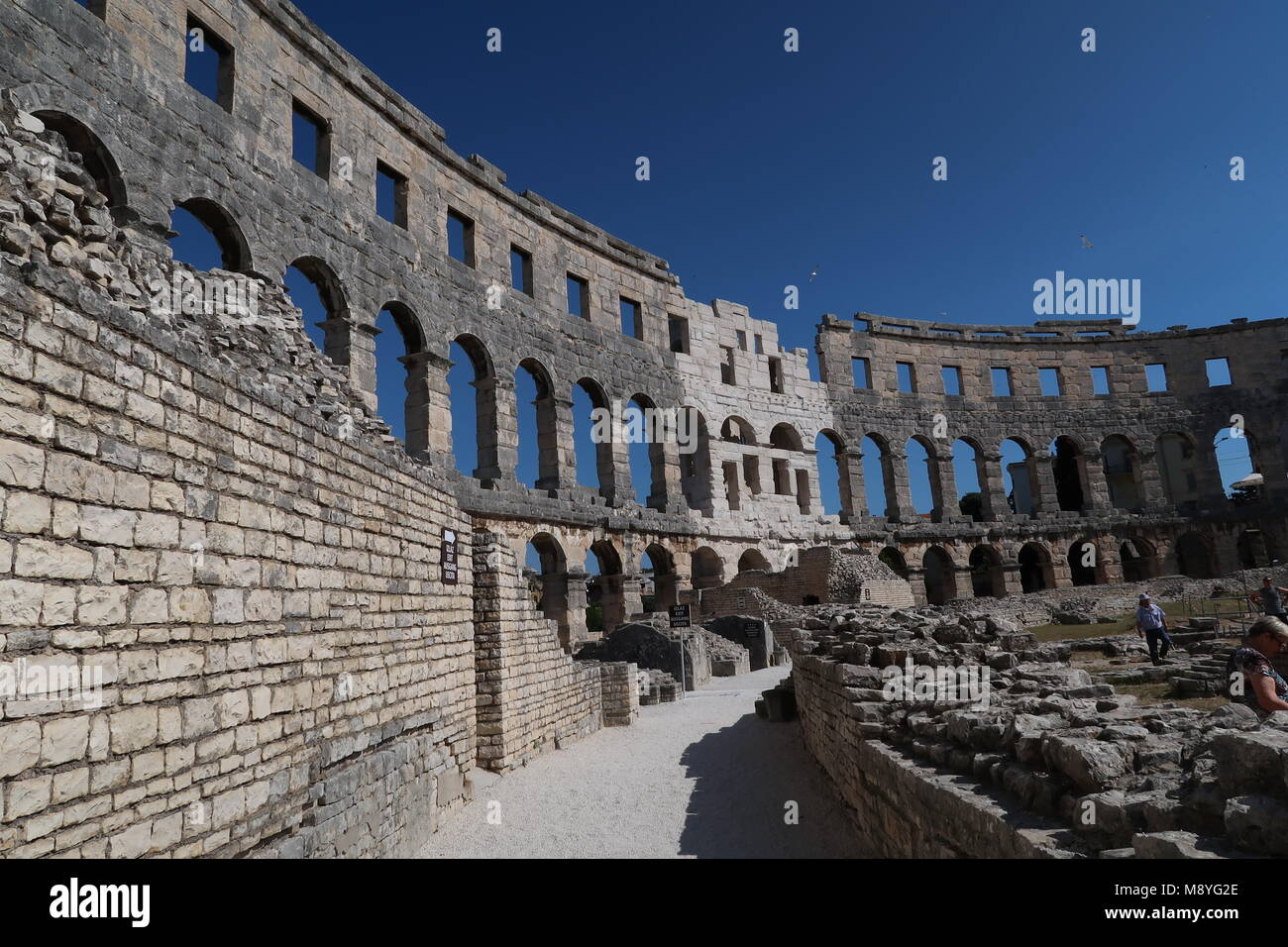 Amphitheater of Pula in croatia on a sunny day - Stock Image