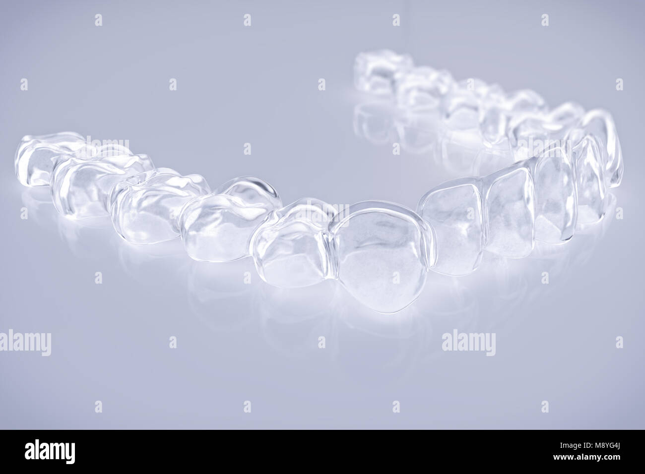 Invisible aligner, braces - 3D Rendering - Stock Image