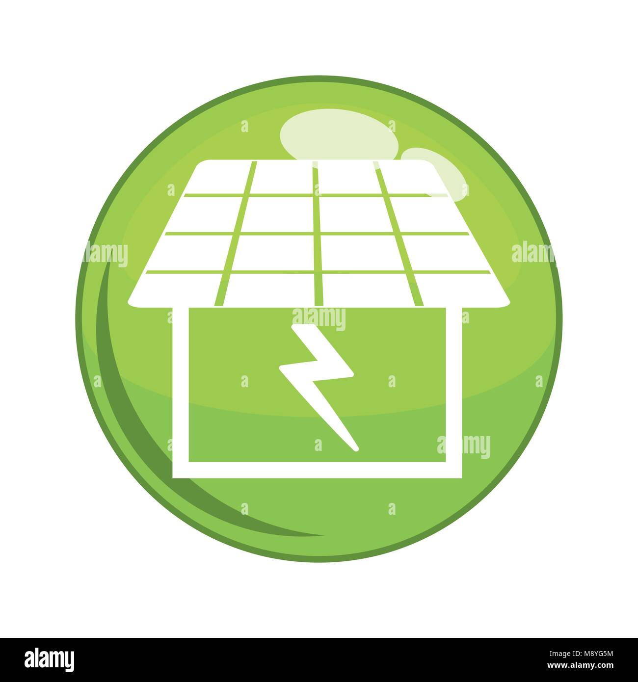 button with solar house building vector illustration design - Stock Image
