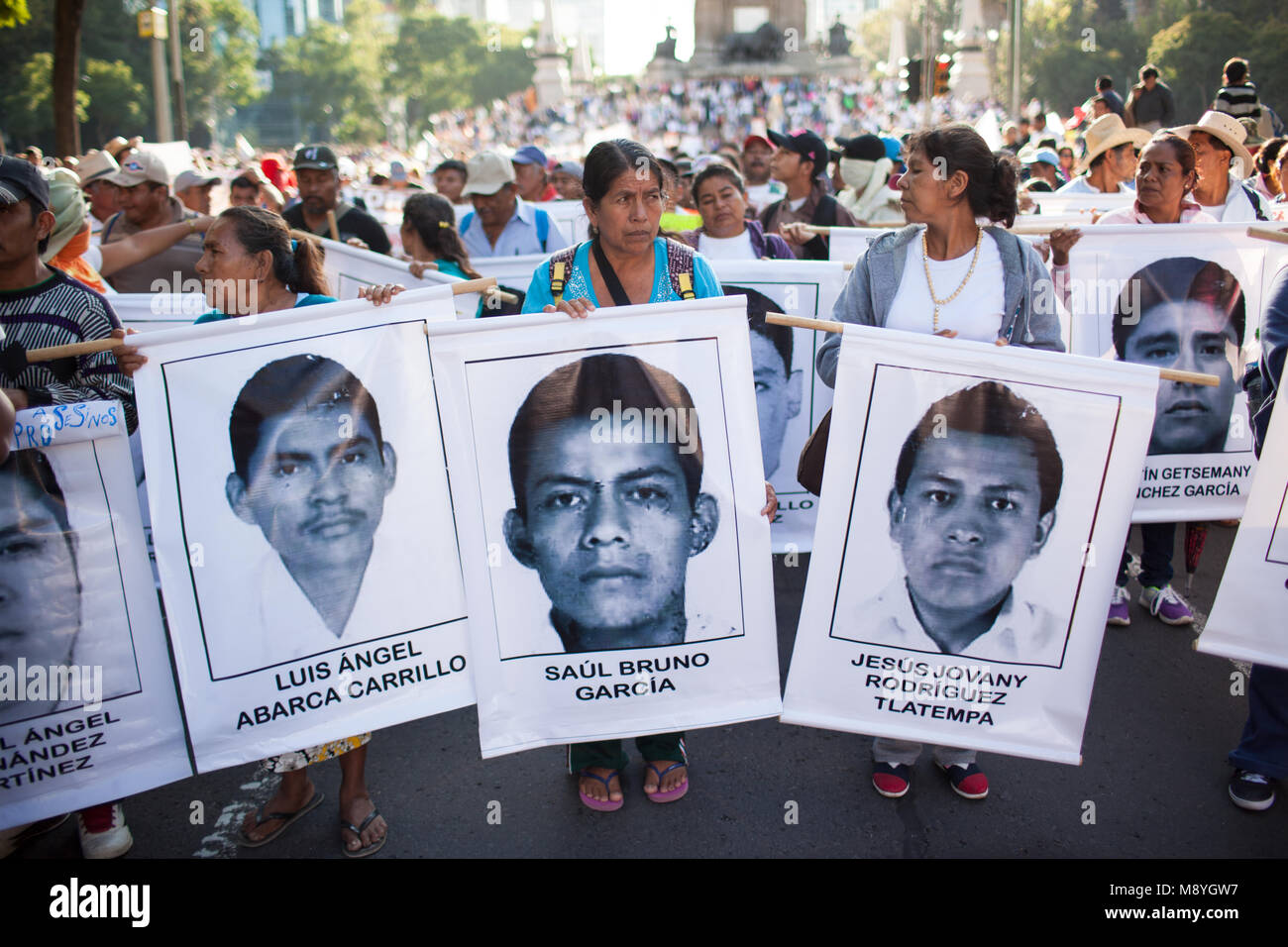 The family of 43 missing Normalista students who were taken from Ayotzinapa teaching college in Iguala, Mexico lead Stock Photo