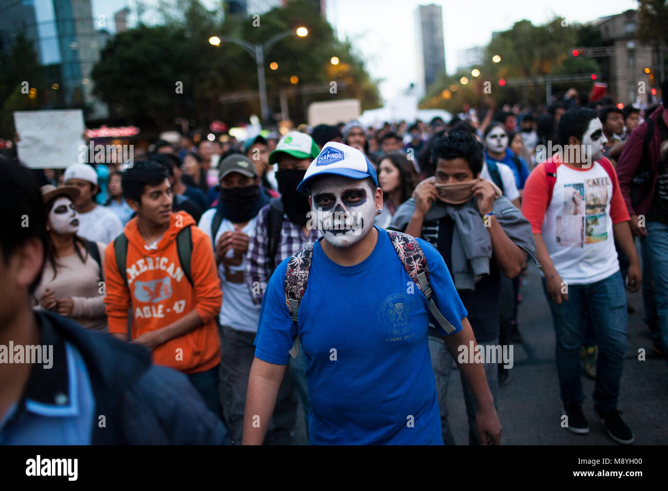 People march through Mexico City protesting for the return of 43 missing Normalista students who were taken from Stock Photo