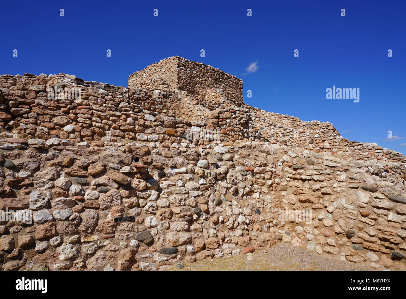 View of the Tuzigoot National Monument, a pueblo ruin on the National Register of Historic Places in Yavapai County, Stock Photo