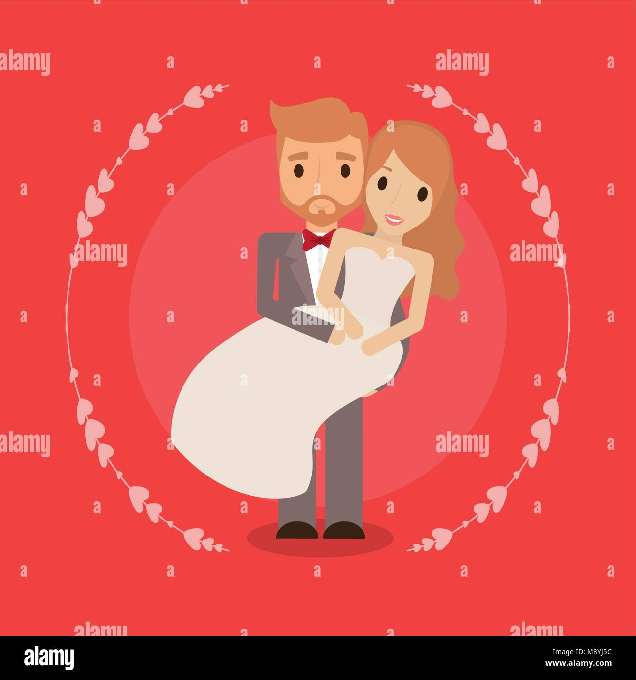Cartoon Happy Wedding Couple Over Red Background Colorful