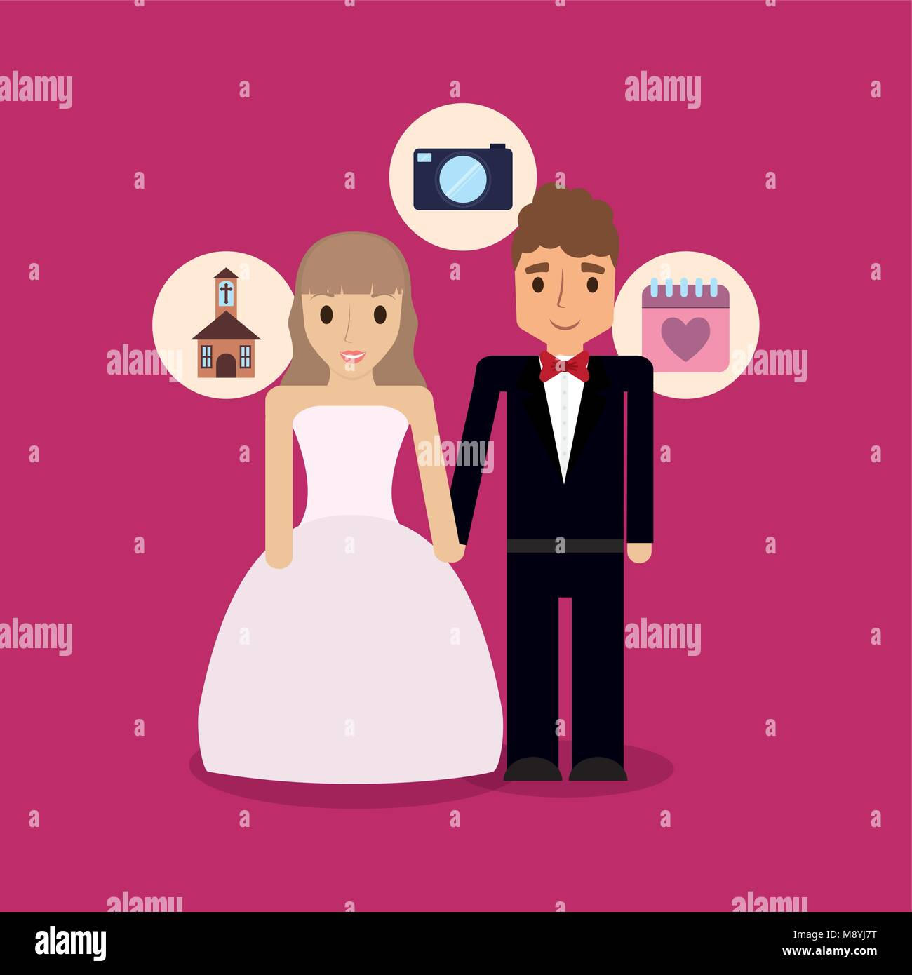 Cartoon Wedding Couple With Related Icons Around Over