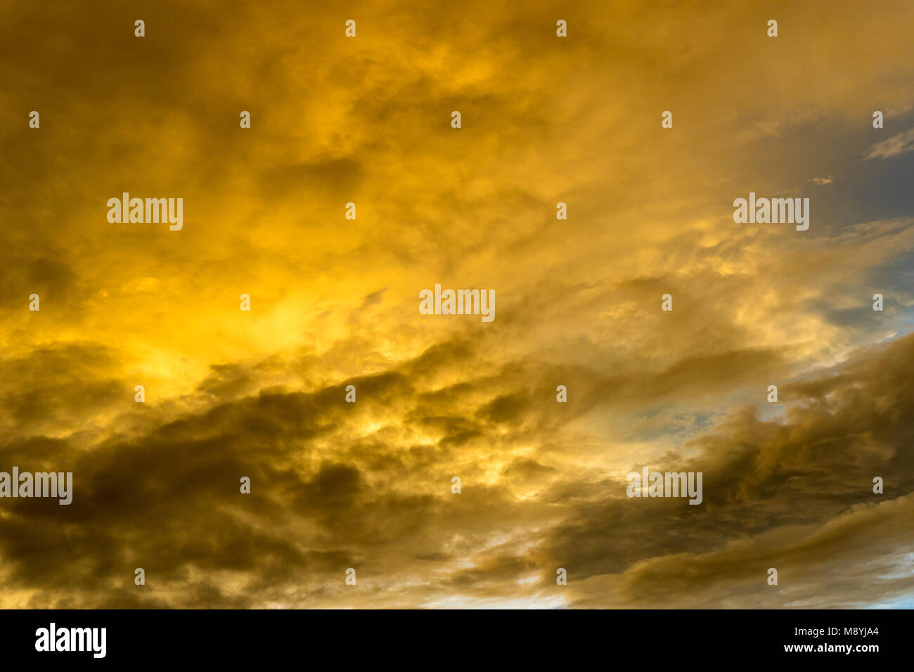 Beautiful sky and rain clouds during sunset - Stock Image