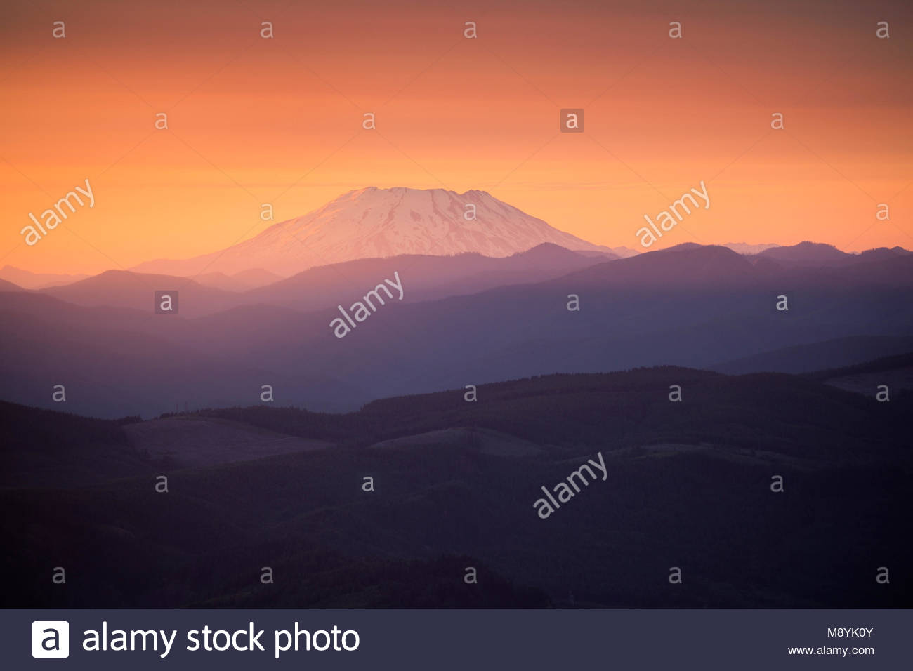 Mount St. Helens at Sunset from Larch Mountain, Mount Hood National Forest, Oregon - Stock Image