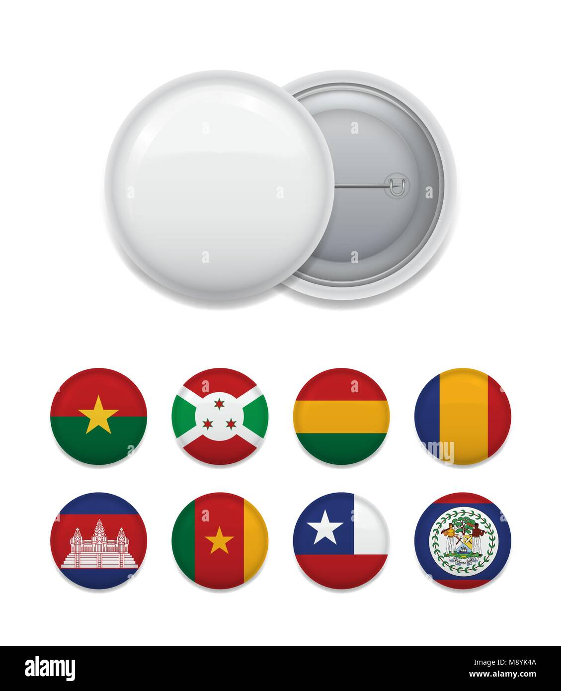Blank badge templatewith flags set - Stock Image