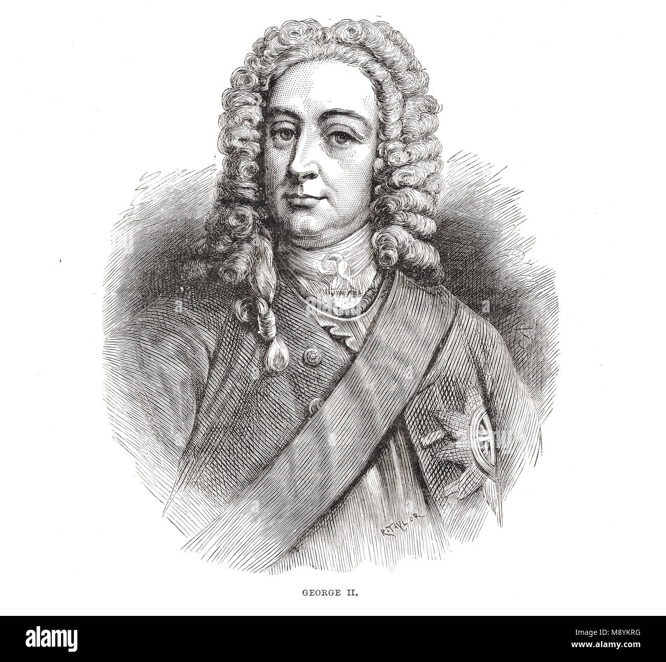 King George II of of the United Kingdom, Great Britain and Ireland, reigned 1727-1760 - Stock Image