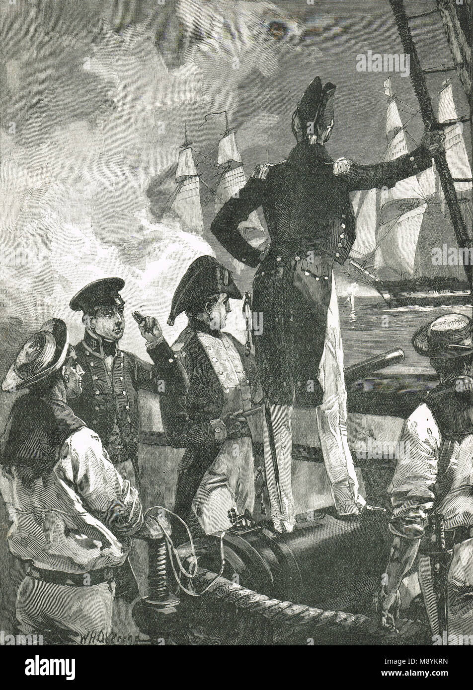 Captain William Walpole intercepting the ships of the Duke of Saldanha, 16 January 1829,  during the Liberal Wars - Stock Image