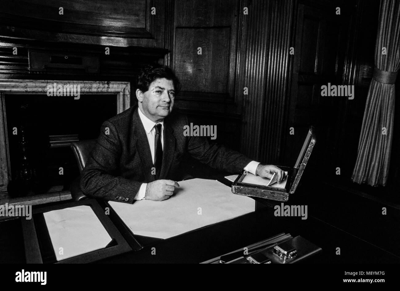 Nigel Lawson Chancellor of the Exchequer with the Budget Box before his 1986 budget. - Stock Image