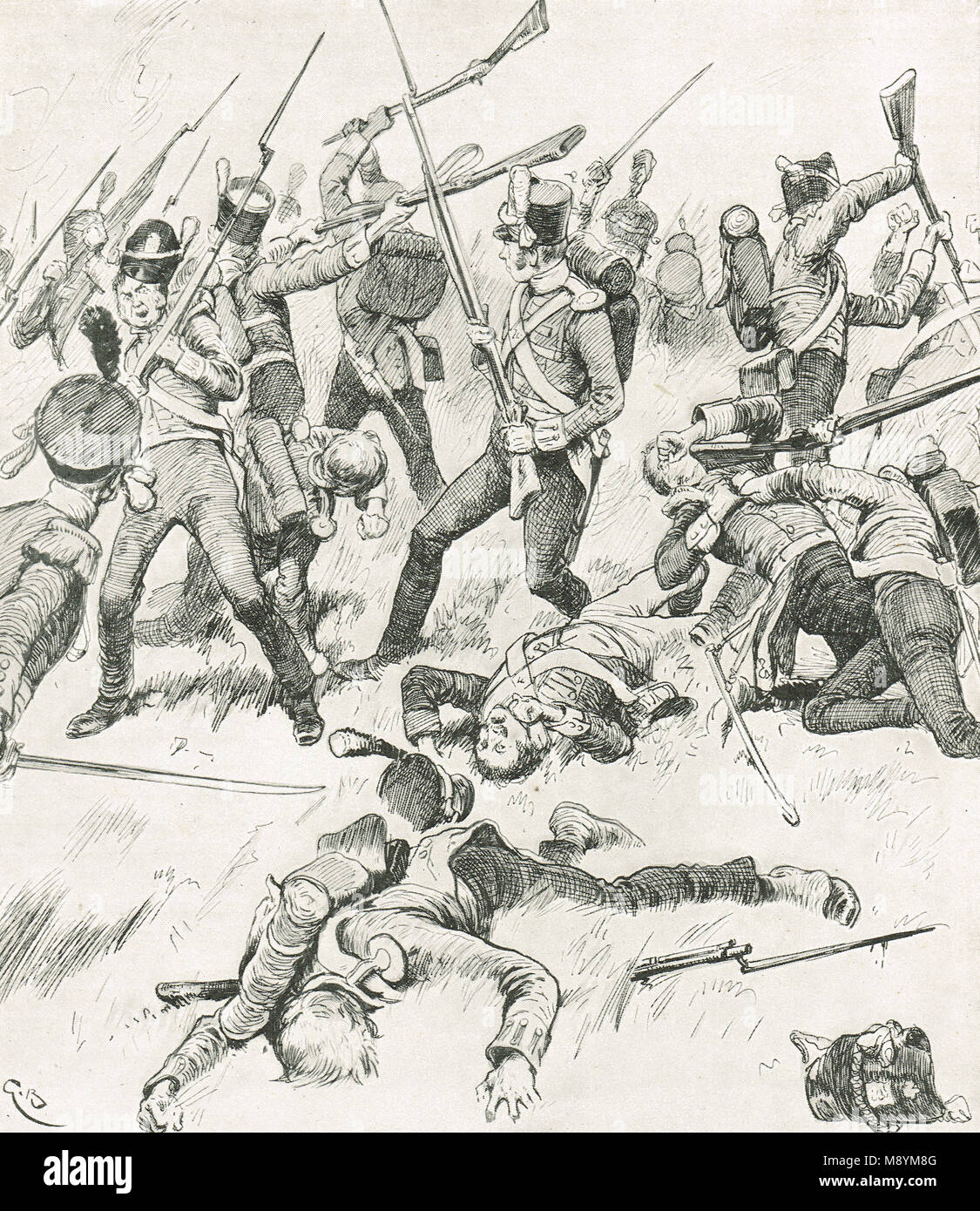 Hand to hand fighting at The Battle of Talavera, 27–28 July 1809 - Stock Image