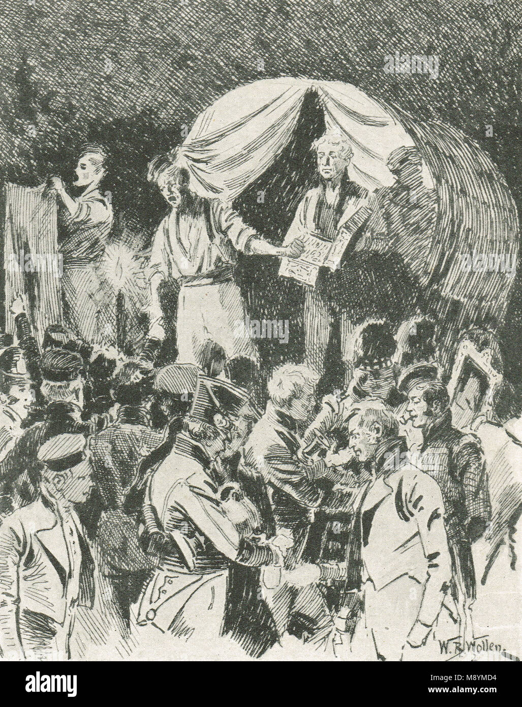 Auction of plunder from abandoned French wagons after the Battle of Vitoria, 21 June 1813 - Stock Image