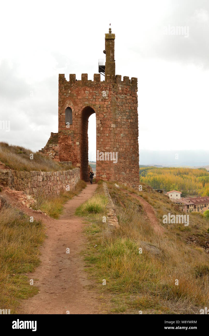 Entrance To The Castle Of The Town Of Ayllon Cradle Of The Red Villages Besides Of Beautiful Medieval Town In Segovia. - Stock Image