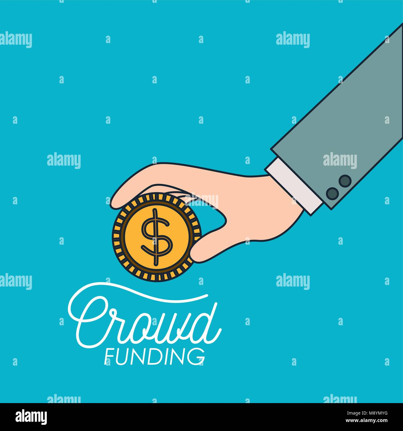 crowd funding poster of hand with coin in blue background - Stock Image