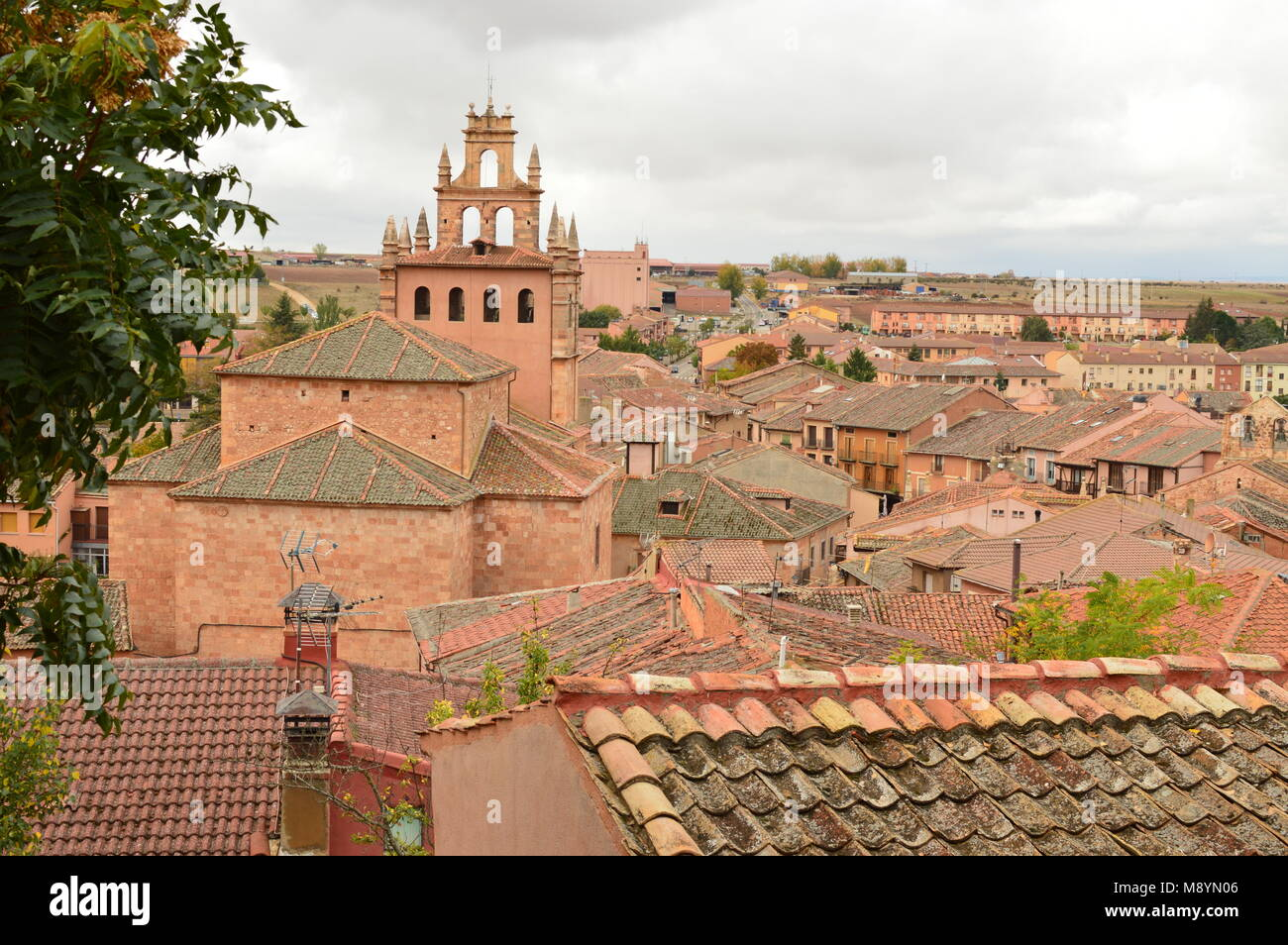 Aerial Views Of The Town Of Ayllon Cradle Of The Red Villages In addition Of Beautiful Medieval Town In Segovia. - Stock Image