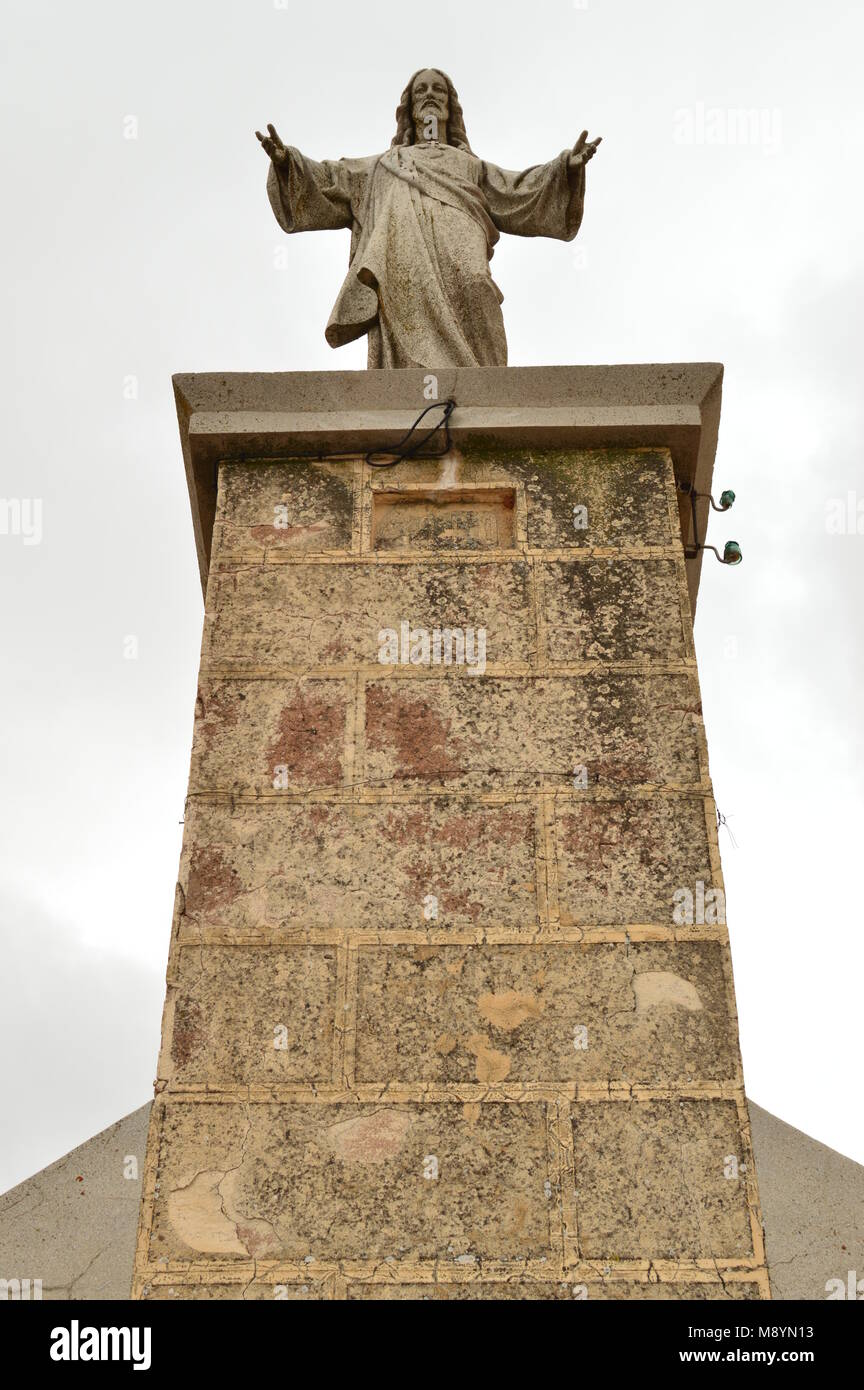Christ In The Summit Of The Town Of Ayllon Cradle Of The Red Peoples In addition Of Beautiful Medieval Town In Segovia. - Stock Image
