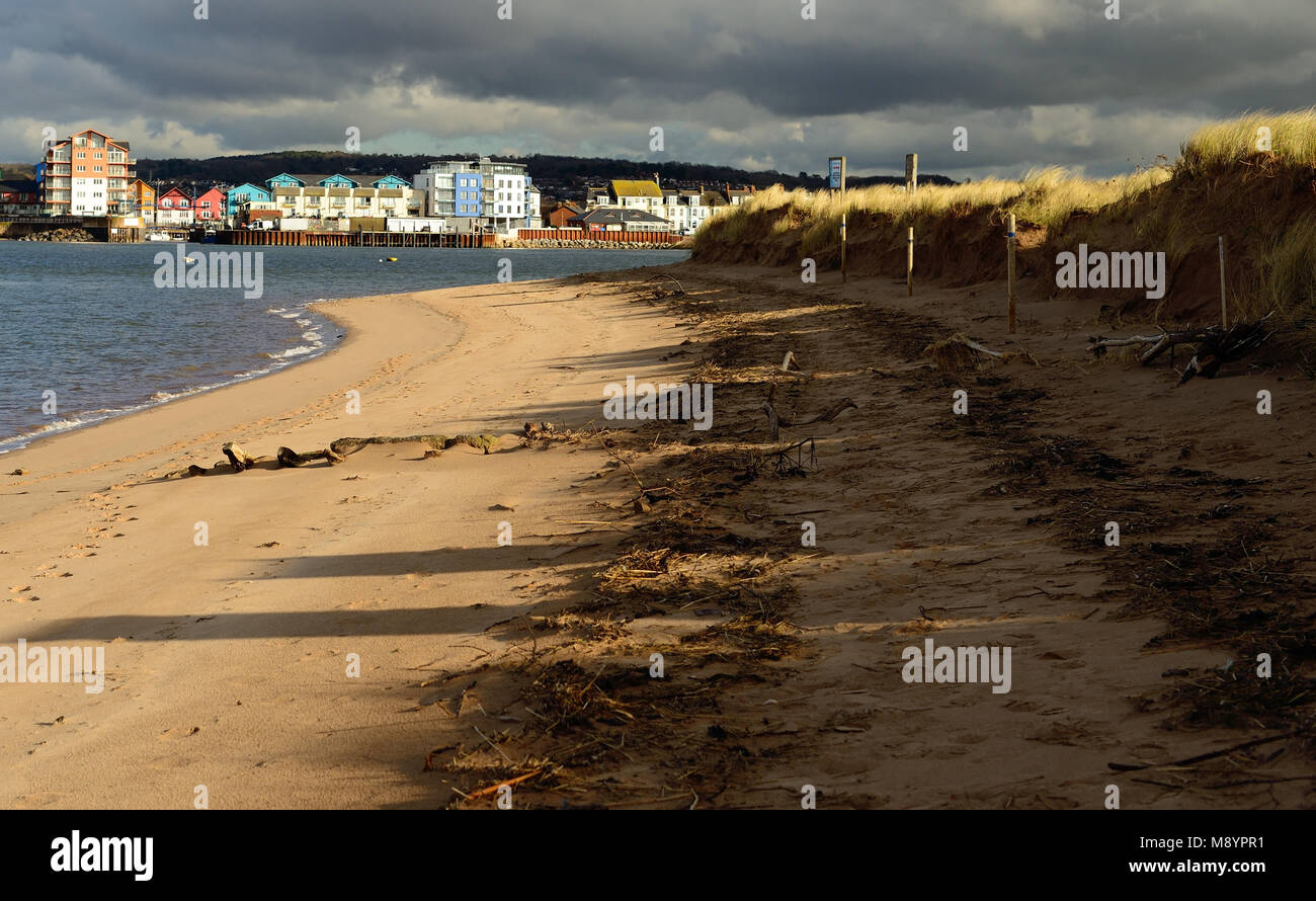 View of Exmouth from the Exe estuary nature reserve at Dawlish Warren. Stock Photo