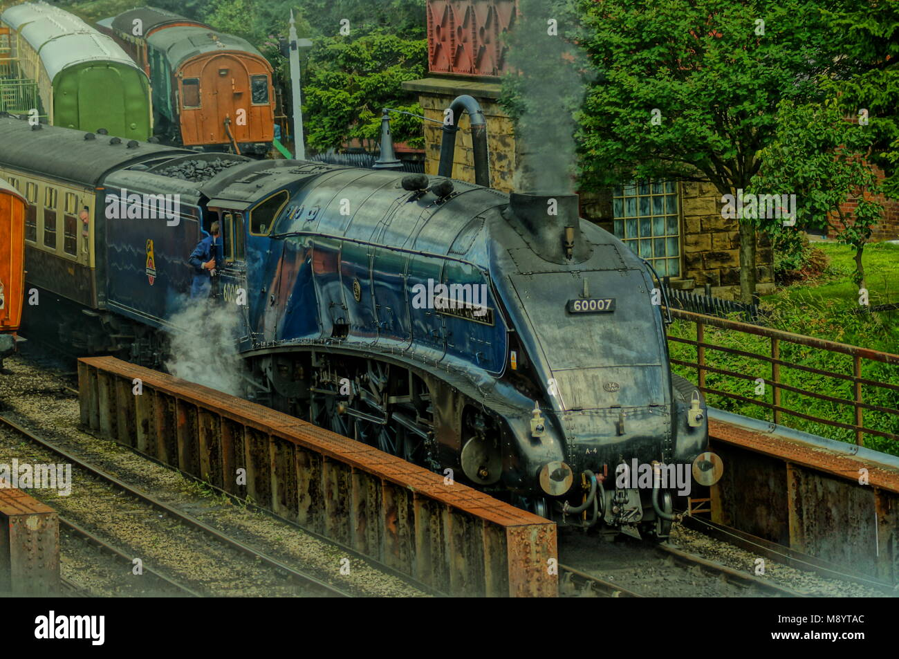 Sir Nigel Gresley A4 Class steam train preparing to leave Goathland  (known on Heartbeat as Aidensfield) station - Stock Image