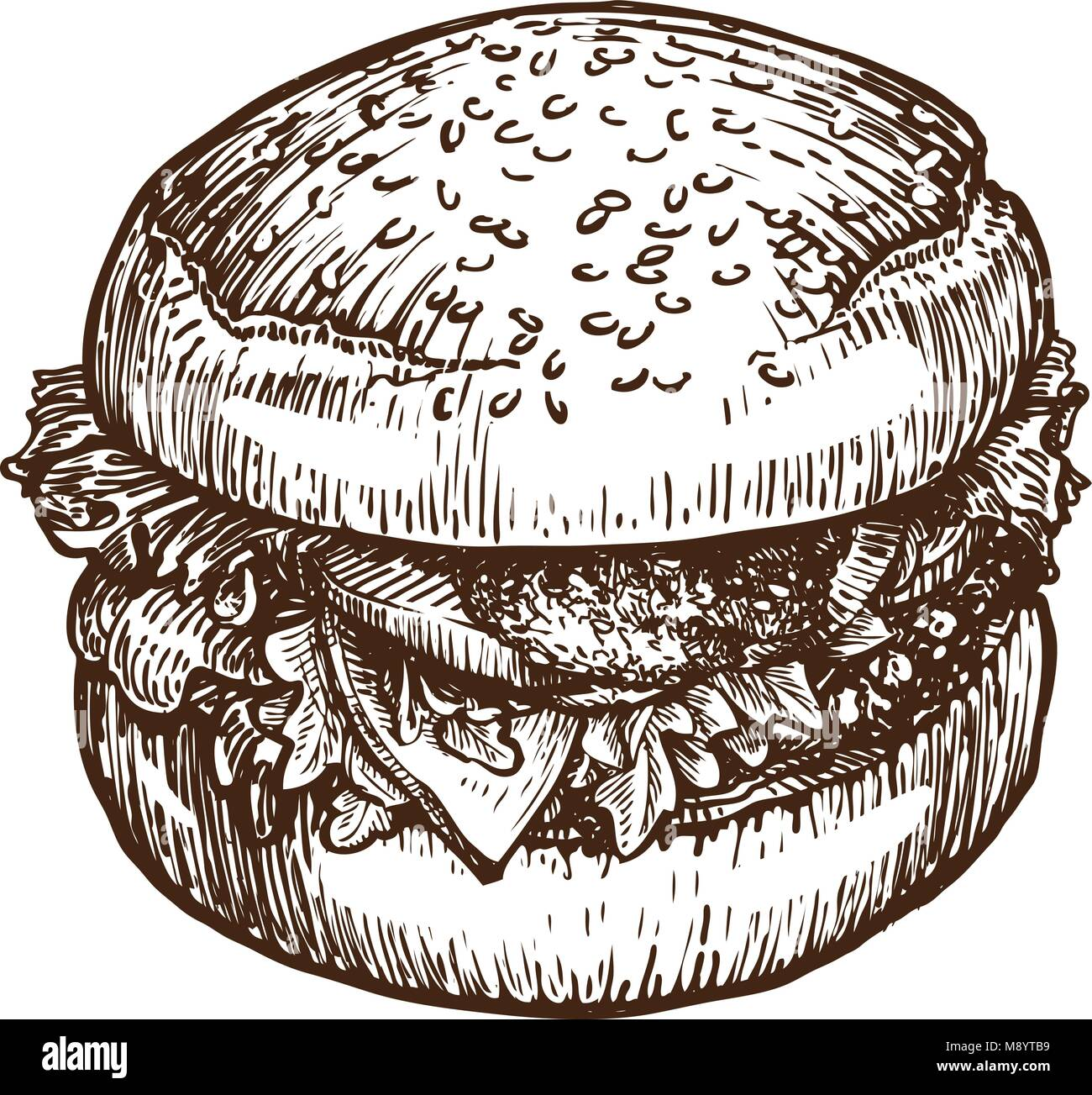 Burger, hamburger sketch. Fast food concept. Hand-drawn vector illustration - Stock Vector