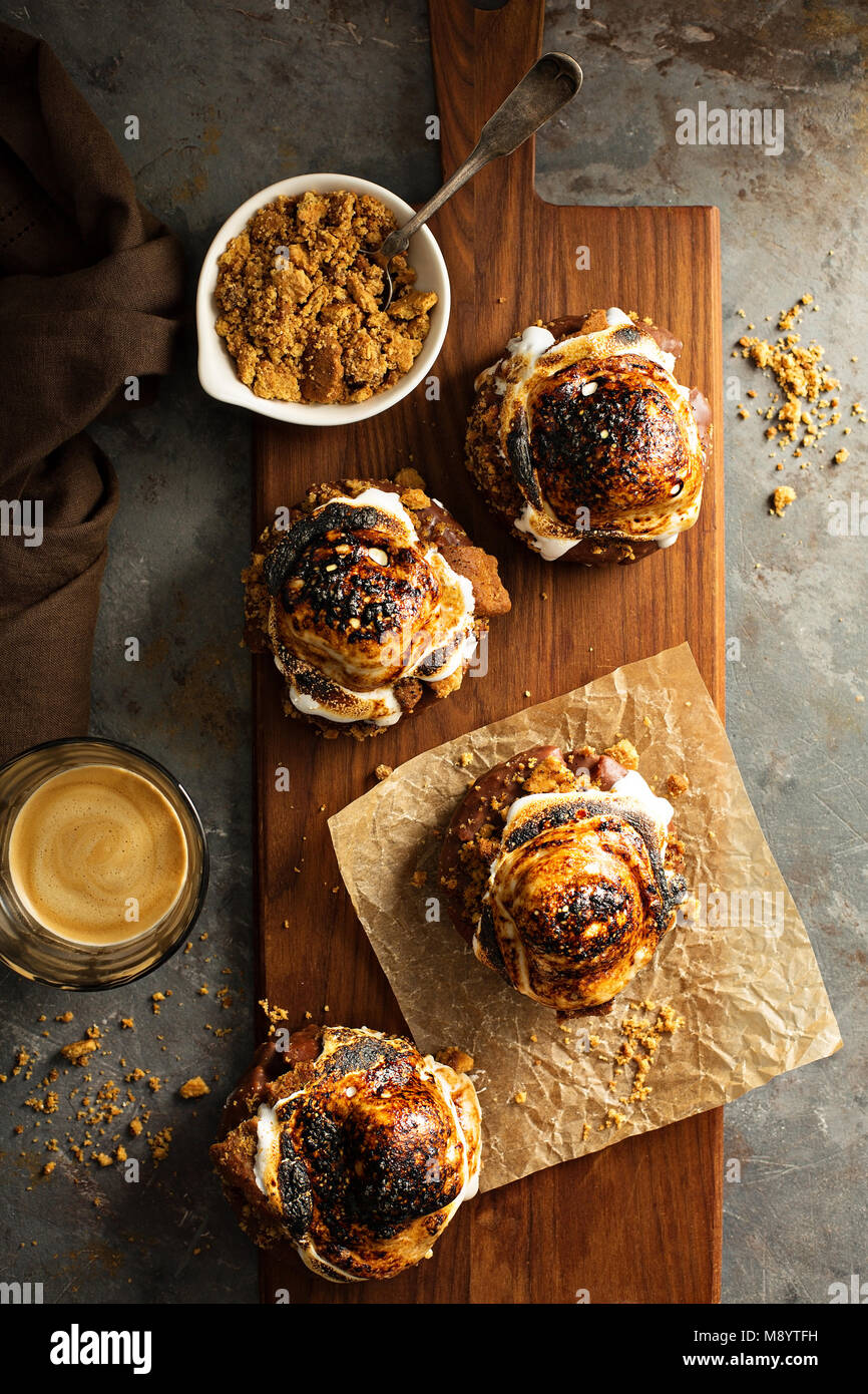 Smores donuts top view - Stock Image
