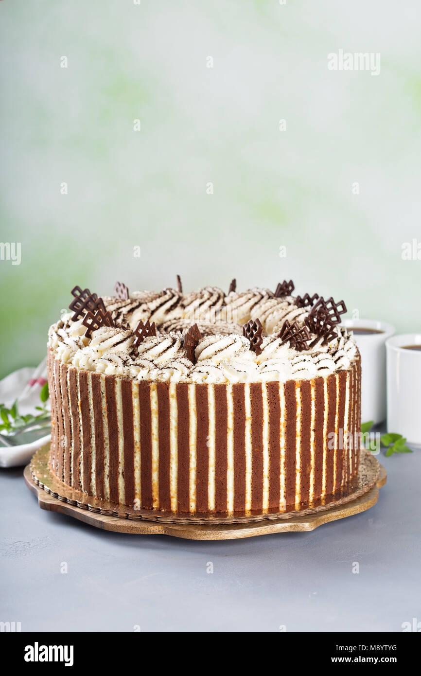 Tiramisu cake with chocolate decor - Stock Image