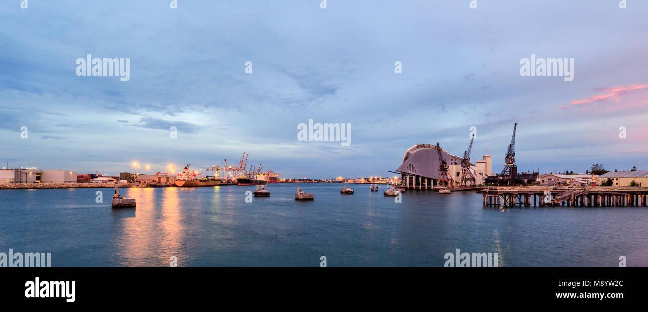 Fremantle Port, docks and Maritime Museum at sunset. WA, Australia - Stock Image